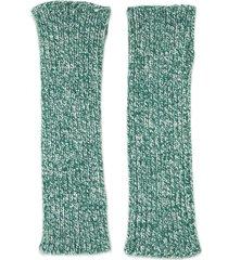 antonella rizza merino-blend fingerless gloves - green
