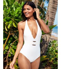 icon marseille non-wired belted plunge shaping one-piece swimsuit