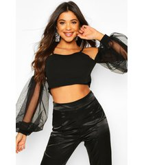 bardot top with oversized organza puff sleeves, black