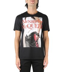 alexander mcqueen black cotton t-shirt with front print
