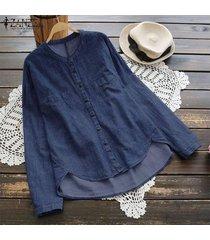 zanzea blusa con botones de manga larga para mujer camisa vaquera básica de talla grande -azul oscuro