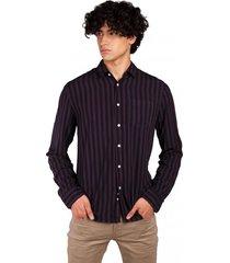 camisa abotonada lineas verticales m/l morado sioux