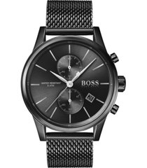 boss men's chronograph jet black ion-plated stainless steel mesh bracelet watch 41mm