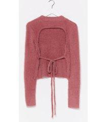 womens back together turtleneck fluffy knit top - rose