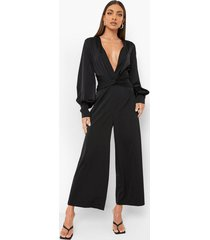 satijnen gedraaide cullotte jumpsuit, black