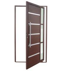 porta pivotante esquerda com lambri e puxador em alumínio miraggio 210x120cm cortem