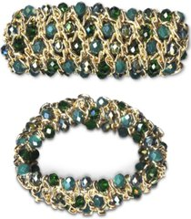 style & co gold-tone beaded stretch bracelet, created for macy's
