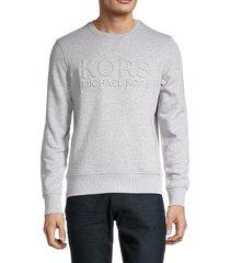 michael kors men's embossed logo fleece sweatshirt - heather grey - size xxl