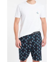 pijama masc bermuda digital ck one sleep - preto - p
