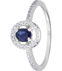 anello in oro bianco, zaffiro 0,47 ct e diamanti 0,19 ct per donna