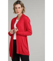 capa feminina básica longa em tricô vermelha