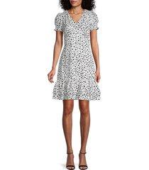 karl lagerfeld paris women's star-print empire waist dress - soft white black - size 4