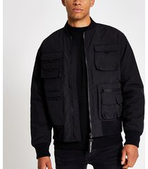 river island mens black utility pocket bomber jacket