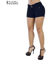 zanzea pantalones cortos de verano para mujer pantalones cortos de club de fiesta legging para mujer -azul