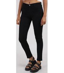 calça de sarja feminina sawary super skinny cintura alta preta