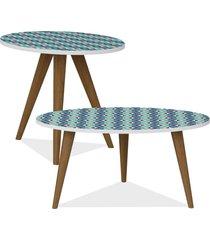 kit com mesa de centro e mesa de canto lateral lyam decor retrô estampa azul