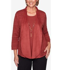 women's plus size catwalk suede trim pointelle two-for-one sweater