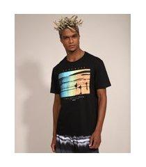 camiseta masculina manga curta praia gola careca preta