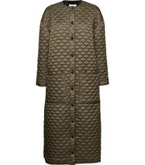 bobi long coat gevoerde lange jas groen r/h studio