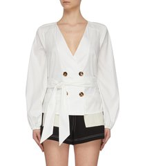 'avidity' open back belted blouse top