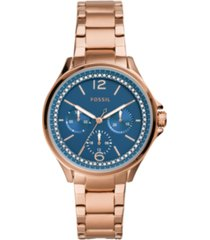 fossil women's sadie rose gold-tone stainless steel bracelet watch 38mm