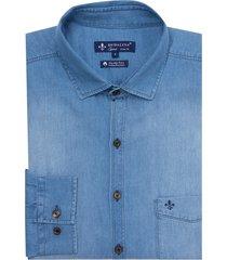 camisa dudalina jeans manga longa essentials masculina (v19 / o19 jeans claro, 7)