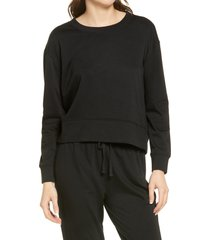 women's splendid atlas crewneck pullover, size medium - black