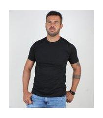 camiseta basica masculina gola careca lucas lunny lisa preto .