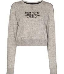 tom ford logo-print long-sleeve sweatshirt - grey