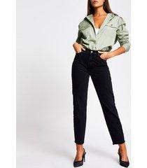 river island womens green long sleeve oversized nylon shirt