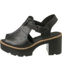 sandália sacolei tratorada open boot preto sintético - kanui