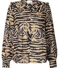 blouse met zebraprint zebraly  bruin
