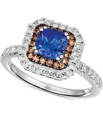 le vian blueberry tanzanite (9/10 ct. t.w.) & diamond (5/8 ct. t.w.) halo ring in 14k white gold