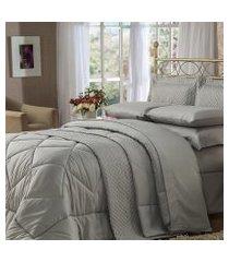 jogo de cama quenn 4 peças cinza soft touch plumasul