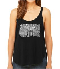 la pop art women's premium word art flowy tank top- brooklyn bridge