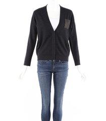 brunello cucinelli gray cashmere silk wool monili cardigan sweater gray sz: xs
