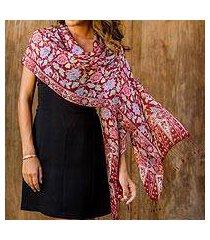 silk batik shawl, 'wine garden' (indonesia)