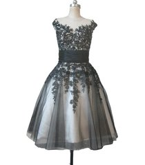 kivary beaded short gothic sheer tulle champagne and black lace prom dresses us