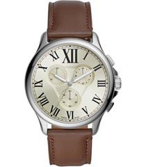fossil men's chronograph monty brown leather strap watch 42mm