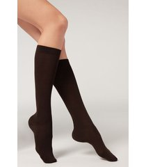 calzedonia tall wool and cotton socks woman brown size tu