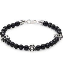 sterling silver, black onyx, & black diamond bead bracelet