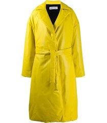 balenciaga padded wrap trench coat - yellow