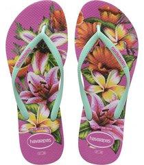sandalias chanclas havaianas para mujer turquesa slim floral