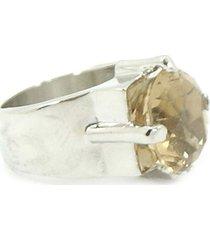 anel bijoulux prateado solitário com pedra âmbar