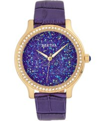 bertha quartz cora collection purple leather watch 40mm