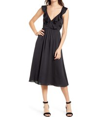 women's madewell ruffle front cross back midi dress