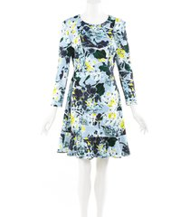 erdem blue floral print flounce dress blue/multicolor/floral print sz: m