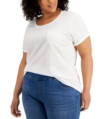 style & co plus size cotton cuffed-sleeve t-shirt, created for macy's