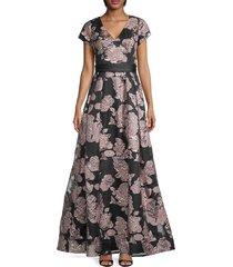 theia women's hand-beaded metallic floral gown - blush black - size 10