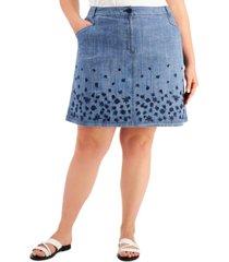 karen scott plus size embroidered denim skirt, created for macy's
